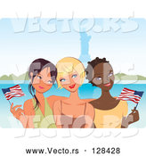 Vector of Three Young Diverse Girlfriends Waving American Flags near the Statue of Liberty by Monica