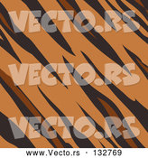 Vector of Tiger Animal Print Background with Brown, Tan and Black Stripes in a Pattern by AtStockIllustration