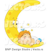 Vector of Tired Baby Sleeping on Crescent Moon by BNP Design Studio