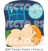 Vector of Tired Boy Sleeping in Bed Beside Clock by BNP Design Studio