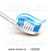 Vector of Tooth Brush with Sparly Blue Gel Paste on the Bristles by Oligo