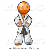 Vector of Tough Orange Guy in a White Karate Suit and a Black Belt, Standing with His Hands on His Hips by Leo Blanchette