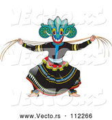 Vector of Traditional Sinhala Devil Dancer in a Horned Mask 4 by Lal Perera
