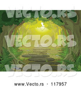 Vector of Tree Canopy over a Forest Path with Ferns by Pushkin