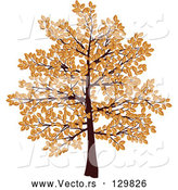 March 21st, 2018: Vector of Tree with Branches Covered in Brown Autumn Leaves, over a White Background by KJ Pargeter