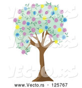 Vector of Tree with Green Foliage and Colorful Spring Blossoms by Mheld