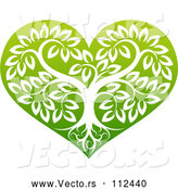 Vector of Tree with Roots and Leafy Branches Inside a Gradient Green Heart by AtStockIllustration