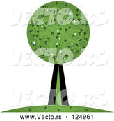 Vector of Tree with Swirl Foliage by Pams Clipart