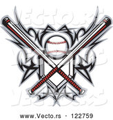 Vector of Tribal Baseball Home Plate with Crossed Bats and Ball Featuring the Sweet Spot by Chromaco