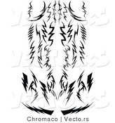 Vector of Tribal Lightning Bolts - Silhouetted Designs by Chromaco