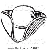 Vector of Tricorne Hat in Black Lineart by Andy Nortnik