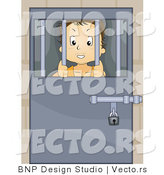 Vector of Troubled Kid Locked Behind Bars in a Juvenile Detention Center or Jail by BNP Design Studio