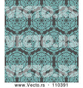 Vector of Turquoise Blue Circuolar Pattern over Gray by KJ Pargeter