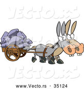 Vector of Two Cartoon Mules Pulling a Heavy Wagon Full of Rocks by Toonaday