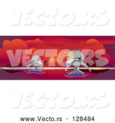 Vector of Two Dolphins Leaping over Water Under a Red Ocean Sunset by Kaycee