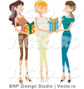 Vector of Two Girl Friends Giving Presents to Pregnant Woman at Baby Shower by BNP Design Studio