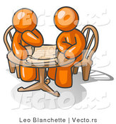 Vector of Two Guys Sitting at a Table, Discussing Papers by Leo Blanchette