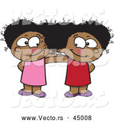 Vector of Two Happy Cartoon Black Girls Posing Together While Smiling at Each Other by Toonaday