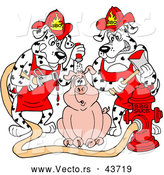 Vector of Two Hungry Cartoon Fire Fighter Dalmatian Dogs Pouring Hot BBQ Sauce over a Worried Pig by LaffToon