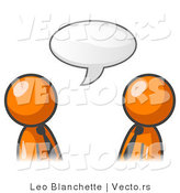 Vector of Two Orange Business Guys Having a Conversation with a Text Bubble by Leo Blanchette