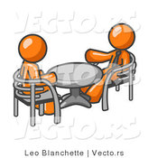 Vector of Two Orange Business Guys Sitting Across from Eachother at a Table During a Meeting by Leo Blanchette