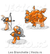 Vector of Two Orange Guys Working Together to Conquer an Obstacle, a Dragon by Leo Blanchette
