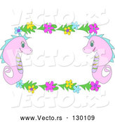 Vector of Two Pink Seahorses with Blue, Yellow and Pink Flowers, Bordering a White Stationery Background by
