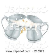 Vector of Two Silver Oktoberfest Metal Ale Beer Mug Tankards Toasting by AtStockIllustration