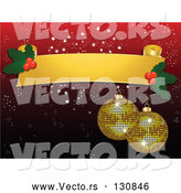 Vector of Two Sparkling Yellow Mirror Disco Ball Christmas Ornaments Hanging from a Blank Yellow Scroll with Holly over a Red Snowflake Background by Elaineitalia