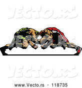 Vector of Two Strong Male Wrestlers in a Match by Chromaco