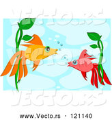 Vector of Two Talking Fish Underwater by