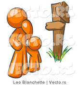 Vector of Uncertain Orange Guy and Child Standing at a Wooden Post, Trying to Decide Which Direction to Go at a Crossroads by Leo Blanchette