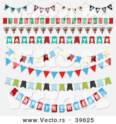 Vector of Unique Christmas Styled New Year Bunting Party Banners by KJ Pargeter