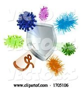 Vector of Vaccine Virus Shield Cells or Antibacterial Icon by AtStockIllustration
