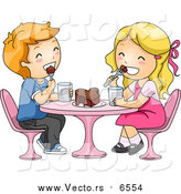 Vector of Valentine Boy and Girl Kids Eating a Chocolate Love Heart Cake - Cartoon Style by BNP Design Studio