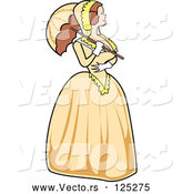 Vector of Victorian Woman Strolling in a Yellow Dress with a Parasol by Andy Nortnik