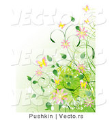 Vector of Vines, Flowers and Butterflies over a Gradient Green Background by Pushkin