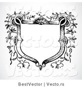 Vector of Vines Growing Around a Blank Crest - Black and White Digital Web Design Element by BestVector