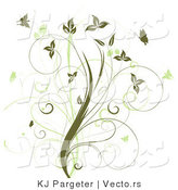 Vector of Vines with Green Butterflies - Floral Design Element by KJ Pargeter