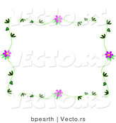 Vector of Vines with Purple Flowers Border Design by Bpearth