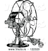 Vector of Vintage Black and White Electric Fan by Prawny Vintage
