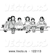 Vector of Vintage Black and White Girls Sitting by Prawny Vintage