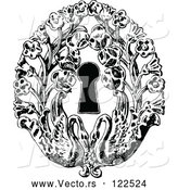 Vector of Vintage Black and White Keyhole with Flowers and Swans by Prawny Vintage
