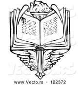 Vector of Vintage Black and White Open Book over Wings and a Torch by Prawny Vintage