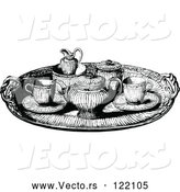 Vector of Vintage Black and White Tea Service Tray by Prawny Vintage