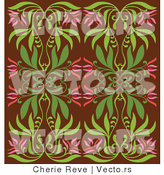 Vector of Vintage Pink and Green Floral Background Pattern over Brown by Cherie Reve