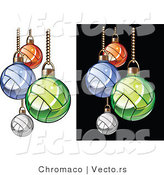 Vector of Volleyball Christmas Ornaments - White and Black Background Versions by Chromaco