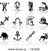 Vector of Weigh Tlifter, Guy Holding Globe, Muscles, Weights, Helmet, Elephant, Anchor, Deer, and Links by AtStockIllustration