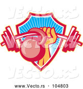 Vector of Weightlifter Hand with a Barbell and Kettlebell Emerging from a Ray Shield by Patrimonio