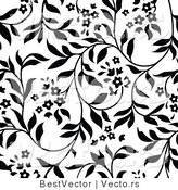 Vector of White and Black Floral Vines Background Pattern Version 4 by BestVector